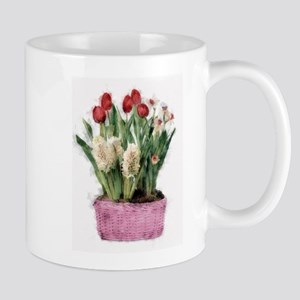 Basket of Tulips Narcissus and Hyaciniths Mugs